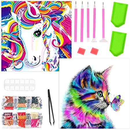 Gato y Caballo Diamond Painting Gato y Caballo DIY 5D Diamante Pintura Kits DIY 5D Diamond Pintura por N/úmero Kit Completo Bordado Punto de Cruz Diamante Craft for Home Wall Decoration