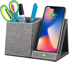 Boxio Wireless Charger Desk Organizer, Wireless Charging Pad and Pen Holder, Fast Wireless Charger 10W with Galaxy S10/S9/Note, 7.5W iPhone X/9 (Gray)