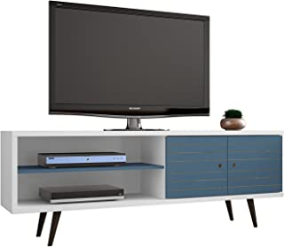 Manhattan Comfort Liberty Collection Mid Century Modern TV Stand With One Cabinet and Two Open Shelves With Splayed Legs, Wood/Blue