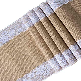 Toaroa Burlap Hessian White Lace Table Runner Natural Jute for Rustic Vintage Country Wedding Party Bridal Shower Baby Shower Kitchen Dining Table Decoration Farmhouse Woodland Decor, 12x108 inches