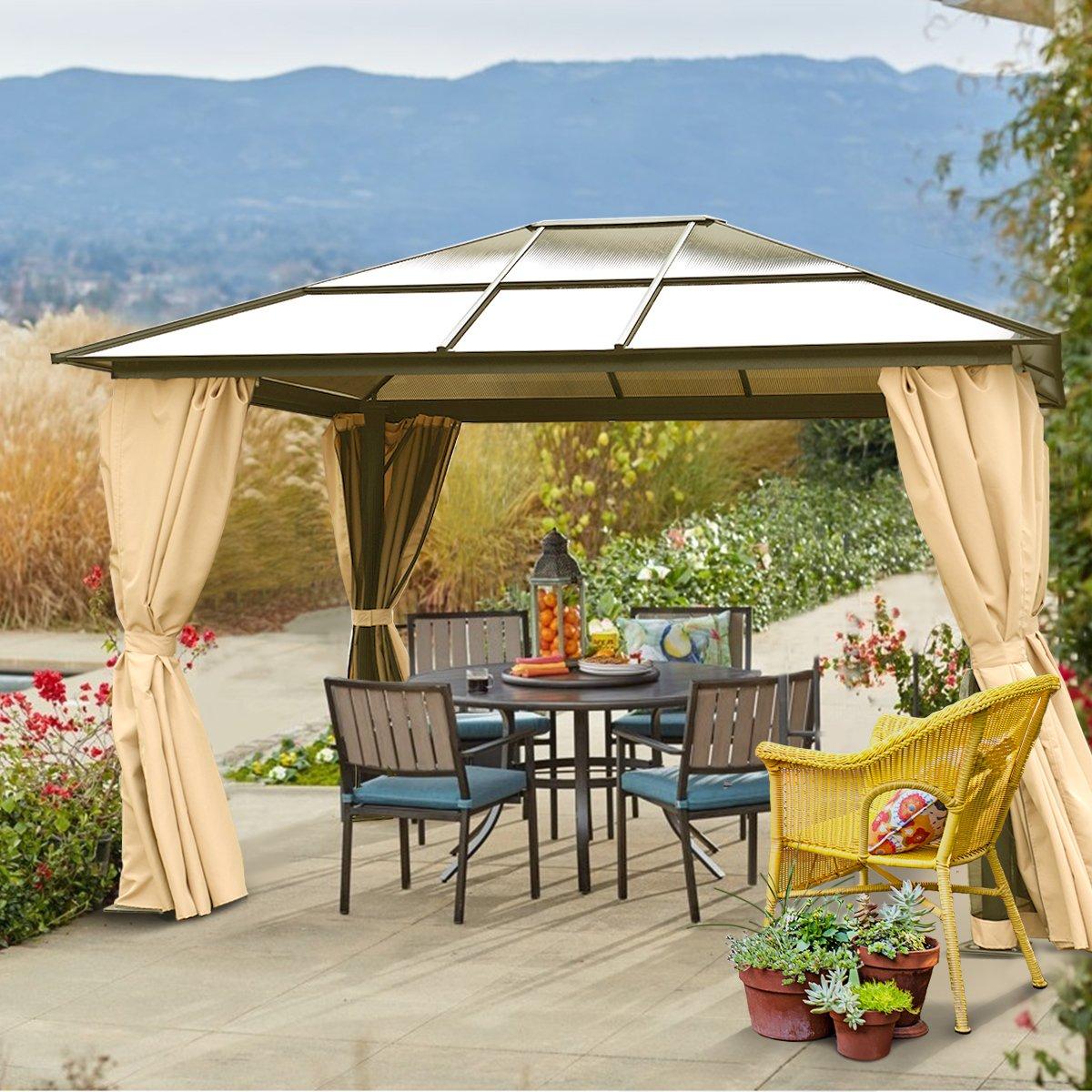10 x 12 duro techo Patio Gazebo bastones de aluminio resistente estructura: Amazon.es: Jardín