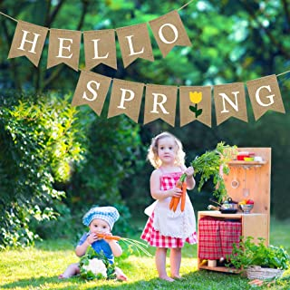 Hello Spring Banner Decoration, Rustic Burlap Wall Hanging Banner Garland, Welcome Spring Banner Signs Swallowtail Letters Flag, Seasonal Home Decors for Fireplace Mantel Garden Indoor Outdoor