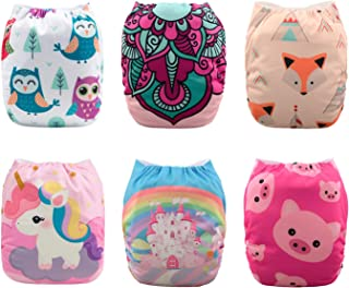 Babygoal Baby Cloth Diapers, One Size Reusable Washable Pocket Nappy, 6pcs Diapers +6pcs Microfiber Inserts+4pcs Bamboo In...