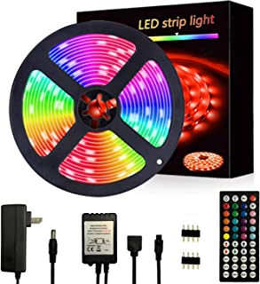Segrasses 16.4ft 5050 RGB Led Strip Lights,5M 150 LEDs Rope Lights, IP20 Non Waterproof Color Changing with 20 Colors 8 Li...