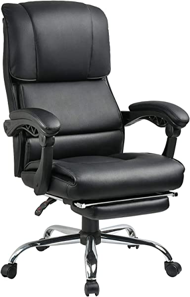Big And Tall 400 Lbs Executive Office Desk Chair Computer Chair High Back PU With Lumbar Support Headrest Footrest Swivel Chair For Women Men Adults Black