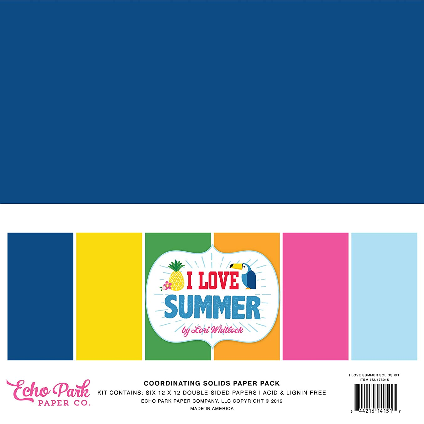 Echo Park Paper Company SU178015 I I Love Summer Solids Kit Paper, Pink, Teal, Green, Yellow, Blue, red