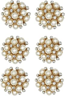 XIAOTAI SHINYTIME Pearl Rhinestone Buttons 6 Pieces gold fancy buttons decorative buttons for clothing Decoration and DIY Crafts 0.9 inch Valentines ideas for her