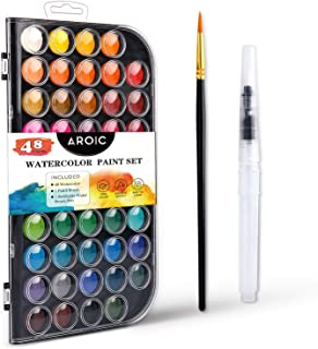 ست رنگی آبرنگ AROIC ، با رنگ آبرنگ ، 48 رنگ ، قلم مو و قلم برس آب قابل تعویض. بهترین هدیه برای مبتدیان ، کودکان و دوستداران هنر.