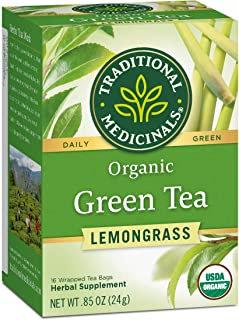 Traditional Medicinals Organic Green Tea Lemongrass Tea, Mildly Invigorating, 96 Tea Bags Total (Pack of 6)
