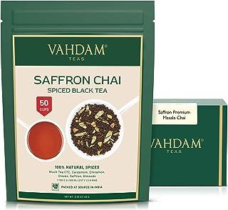 VAHDAM, Saffron Tea Loose Leaf (50 Cups)   100% NATURAL SPICES   Black Tea, Cardamom, Cinnamon, Clove, Almo...