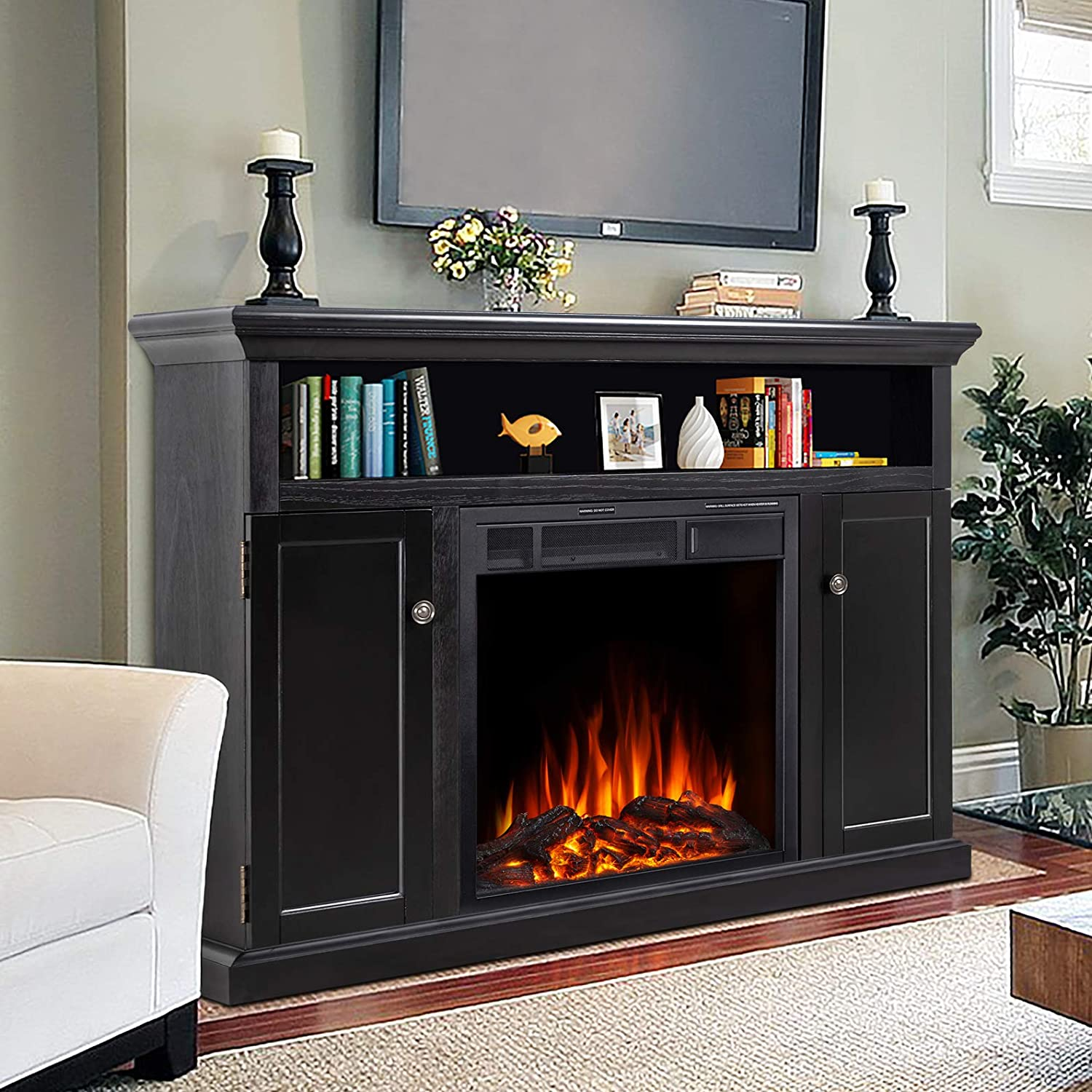 Buy JAMFLY Electric Fireplace TV Stand Wood Mantel for TV Up to 20 ...