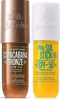 SOL DE JANEIRO Copacabana Bronze Glow Oil & My Sol Stick (SPF50) Bundle Featuring a Gute Carrying Bag (3 Piece Total Bundle)