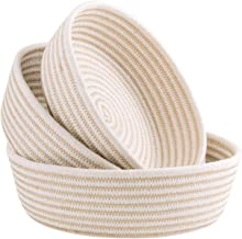 UBBCARE Small Woven Storage Baskets on Table Top Key Pet Toy Storage Bowls Decorative Cotton Rope Trays for Shelves, Entry...