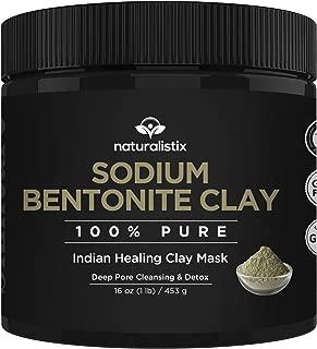 Naturalistix Sodium Bentonite Clay Mask (16 oz) - Indian Healing Clay - 100% Bentonite Clay Face Mask for Deep Pore Cleansing, Skin Detox, Acne, Eczema, Psoriasis, Rosacea, Dermatitis