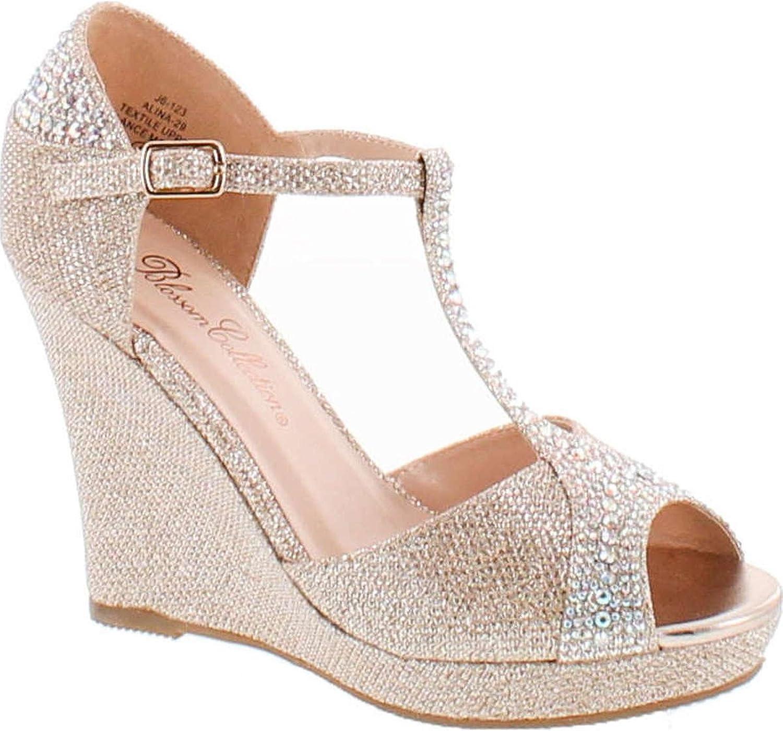 De Blossom Collection Womens Alina-29 Elegant Classic Rhinestones Heel Platform Dress shoes