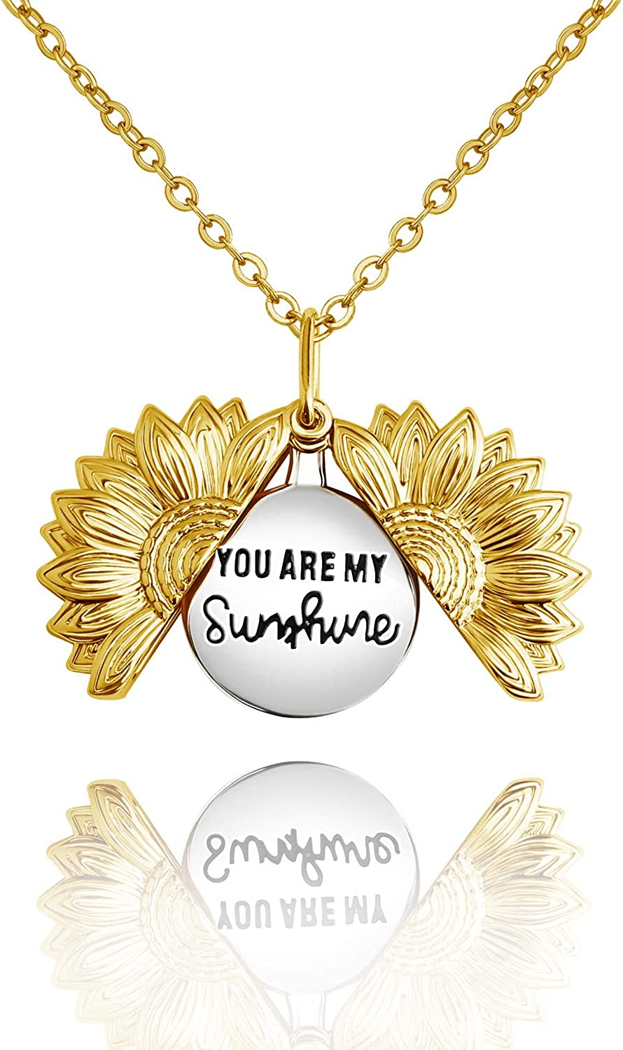 MZC Jewelry You are My Sunshine Necklace Sunflower Locket Pendant for Women Girlfriend Sister