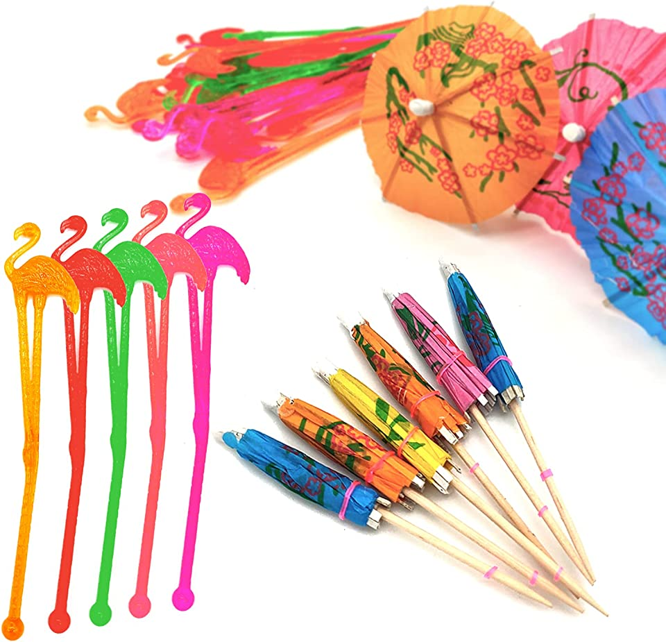 70 Pieces Cocktail Accessories - 20 Flamingo Cocktail Stirrers Mixer and 50 Paper Umbrellas Swizzle Sticks for Tropical Summer Party Drinks Wine Decorations