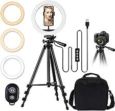 "TBJSM 10"" Selfie Ring Light Tripod Stand Phone Holder for Live Stream Makeup Desktop Led Camera Ring Light for YouTube Vid..."