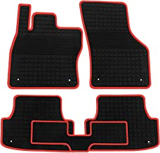 biosp Car Floor Mats for Audi A3 2015 2016 2017 2018 2019 Front and Rear Heavy Duty Rubber Liner Set Black Red Vehicle Carpet Custom Fit-All Weather Guard Odorless
