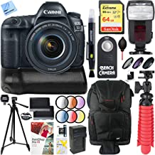 Canon EOS 5D Mark IV 30.4 MP Full Frame DSLR Camera and EF 24-105mm f/4L is II USM Lens Bundle with 64GB Memory Card, Battery Grip and Accessories (19 Items)