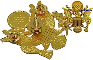 DEURA US Army Officer Cap Eagle Badge Insignia Gold 2-1/2