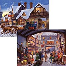 Bits and Pieces - Set of Two (2) 500 Piece Jigsaw Puzzles for Adults - Christmas Shopping, Christmas Eve Express - 500 pc Winter Holiday Jigsaws by Artist Finlay