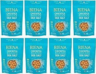 Biena Roasted Chickpea Snacks, Sea Salt, 5 Ounce, Pack of 8