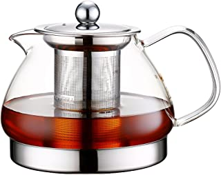 Toyo Hofu Clear High Borosilicate Glass Teapot with Removable 304 Stainless Steel Infuser, Heat Resistant Loose Leaf Tea Pot ,Stovetop Safe, ( 800ml/28oz)
