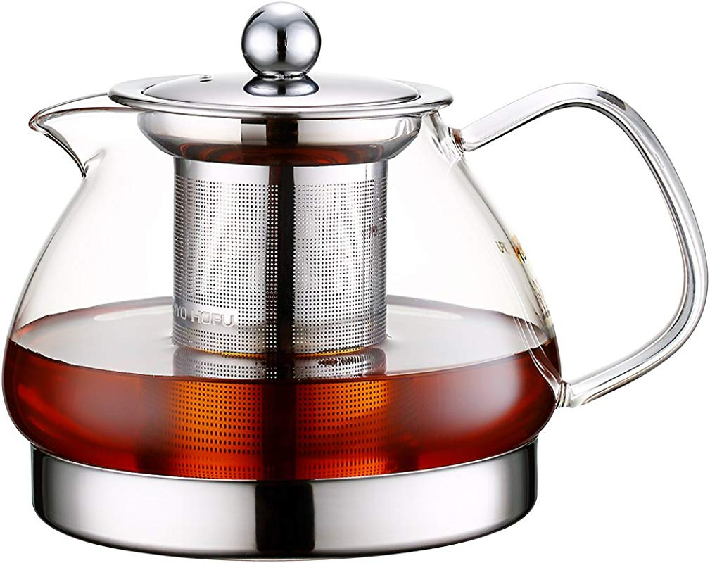 Toyo Hofu Clear Glass Teapot With Stainless Steel Infuser And Lid For Loose Leaf Tea Induction Teapot Heat Resistant Borosilicate Stovetop Safe 800ml 27 Oz