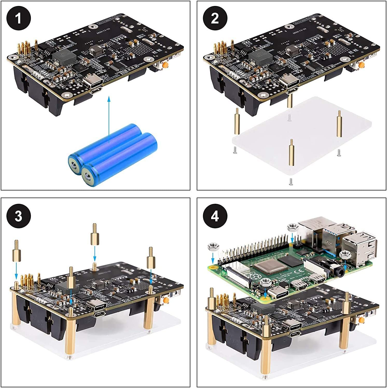 Kaxofang for Pi 4 UPS Power Supply Uninterrupted UPS HAT 18 650 Backup Battery Power Supply Management Expansion Board