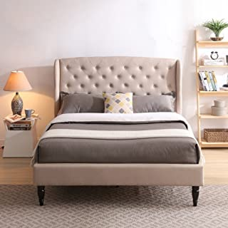 Coventry Upholstered Platform Bed | Headboard and Metal Frame with Wood Slat Support | Linen, King