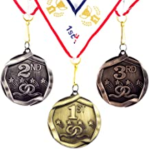 All Quality 1st 2nd 3rd Place Shooting Stars Award Medals - 3 Piece Set (Gold, Silver, Bronze) Includes Ribbon