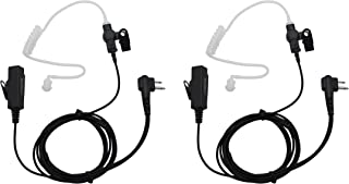GoodQbuy 2Pcs 2-Pin Covert Surveillance Acoustic Tube Earpiece MIC for Motorola Walkie Talkies Devices GP88 300 CP185 CP200 CP200D CT150 P040 PRO1150 SP10 XTN500