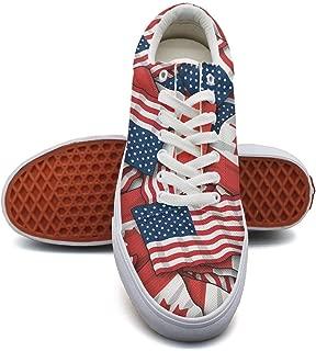 éˆç§‹ç‡?Canada America Flag Lace Up Sneakers Canvas Skate Shoes for Women Fashion