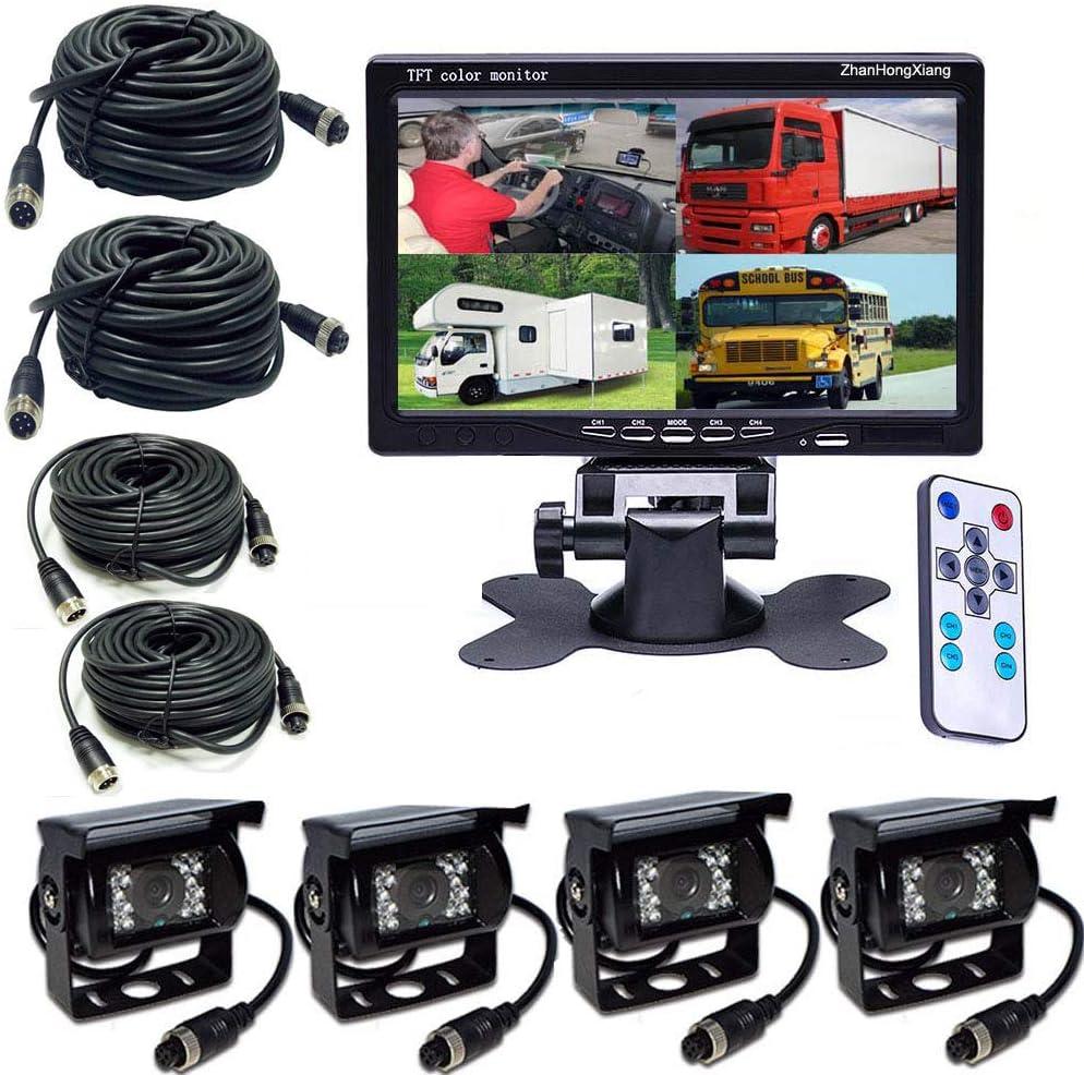 Vehicle Backup Cameras Monitor HD 1080P 12V/24V ,4X 4 Pin AHD Car Reverse Rear View Camera Kit + 7