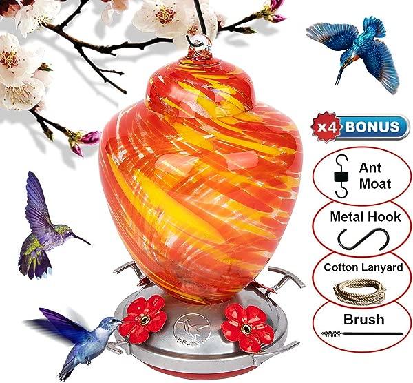 REZIPO 蜂鸟进纸器,鲈鱼人工吹制玻璃红 26 液体盎司蜂鸟花蜜容量包括挂线和护城河钩橙色