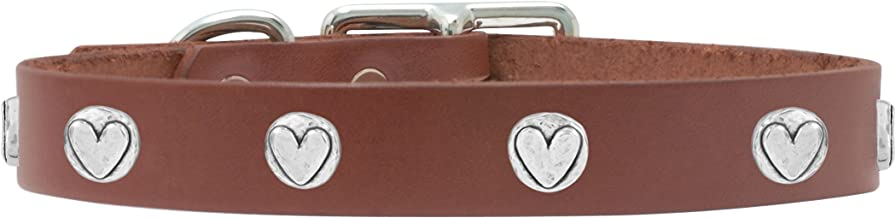 product image for Rockin Doggie Heart Rivet Veg Leather Dog Collar, 1/2 by 8-Inch, Brown