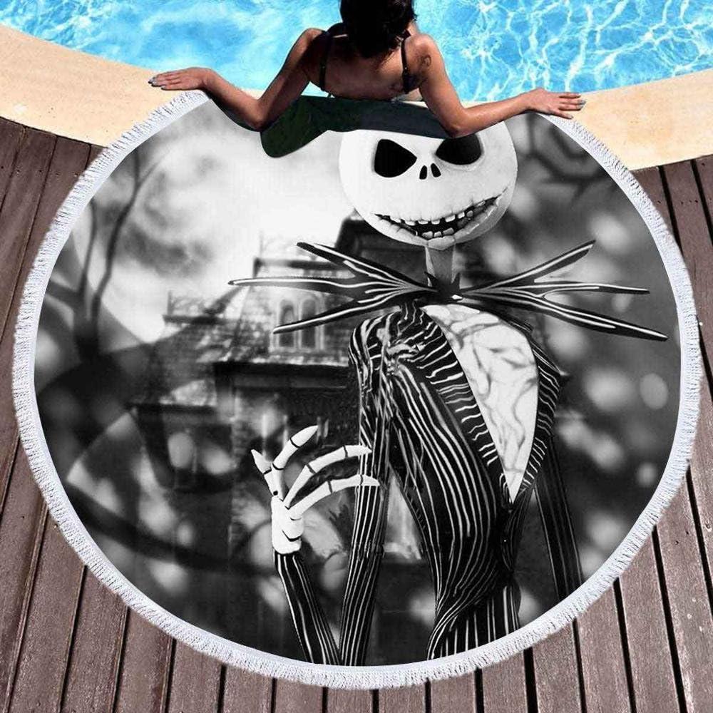 Changlesu - Toalla de playa o de baño redonda y grande de microfibra para adultos y niños, esterilla de yoga con borlas o manta con un estampado de ...
