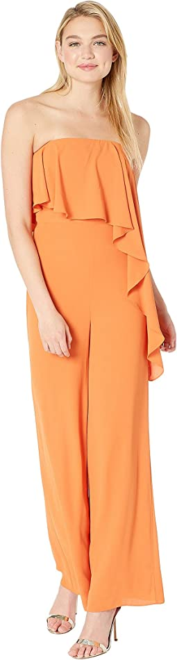 Strapless Wide Leg Jumpsuit with Flounce Overlay