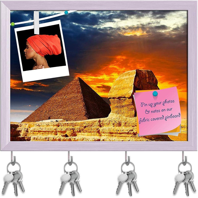 Artzfolio Great Sphinx & The Pyramids Key Holder Hooks   Notice Pin Board   White Frame 7.8 X 6Inch
