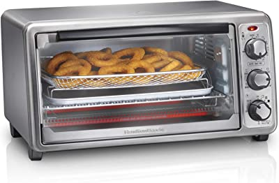Hamilton Beach 31413 Countertop Toaster Oven, with Bake Pan, 6-Slice Sure Crisp, Stainless Steel