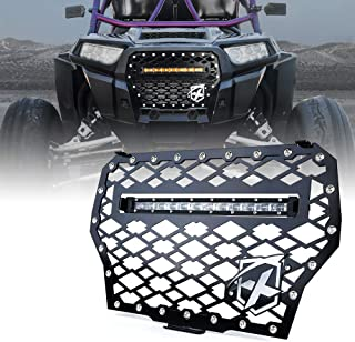 Xprite Black Steel Front Mesh Grille with 60W LED Amber Light bar for 2017-2018 Polaris RZR 1000 XP Turbo
