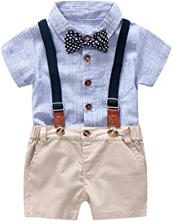 Baby Boys Gentleman Outfits Suits, Infant Blue Shirt+Bib Shorts+Tie+Suspenders Clothing Set