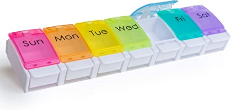 RMS Weekly and Daily Pill Organizer - 7 Day Pill Planner, Dispenser Case for Medicines, Vitamin Supplements with Easy Press Open Design and Large Capacity (Once Per Day)