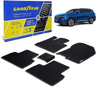 Goodyear Custom Car Floor Mats for Hyundai Santa Fe 2019-2020, Black/Black 5 Pc. Set, All Weather Diamond Shape Liner Trap...
