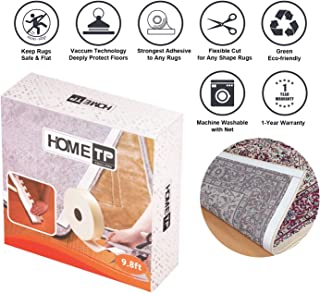 "Home Techpro Area Rug Gripper for Hardwood Floors, 9.8Ft Premium Washable Non-Slip Rug Grippers ""Vacuum Tech"" -New Materials to Anti Curling : Keep Your Rugs in Place and Make Corner Flat"