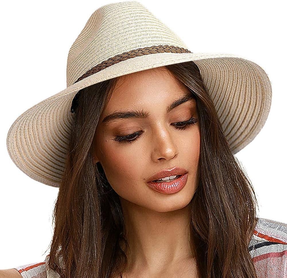 FURTALK Sun Hats for Women Summer Wide Brim UV UPF 50+ Panama Fedora Foldable Packable Straw Beach Hat