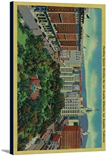 Pershing Square showing the Los Angeles Biltmore (22 5/8x36 Gallery Wrapped Stretched Canvas)