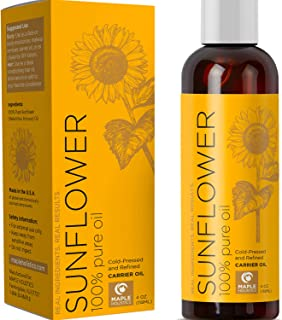 Pure Sunflower Oil Moisturizer for Face Body and Hair Cold Pressed Essential Oil Carrier for Aromatherapy Massage Anti Wri...