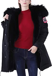 S.ROMZA Womens Hooded Parka Jacket Warm Faux Fur Lined Winter Coat with Real Raccoon Fur Collar